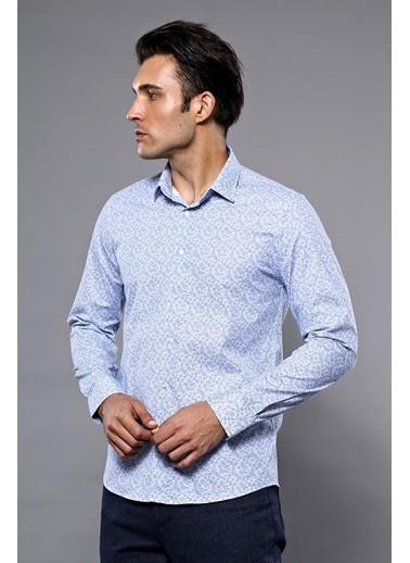 Wessi Erkek Çiçek Desenli Uzun Kollu Slim Fit Gömlek Mavi